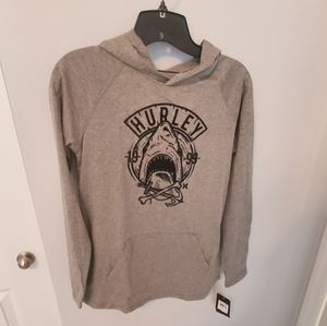 Boys Size L Hurley gray hooded tshirt